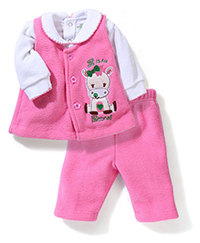Babyhug Full Sleeves Fleece Top And Leggings Zebra Embroidery - White Pink