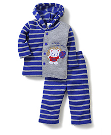 Babyhug Hooded Knitted T-Shirt And Stripe Pants - Blue Grey