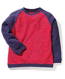 Mothercare Full Sleeves Sweatshirt Heart Design - Red Navy