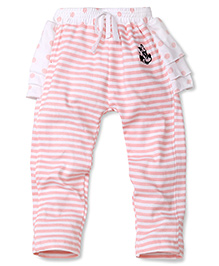 Disney by Babyhug Striped & Dotted Skeggings - Pink & White
