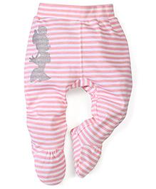 Disney by Babyhug Striped Bootie Leggings - Pink & White