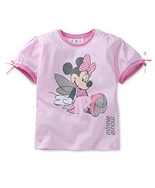 Disney by Babyhug Short Sleeves Minnie Mouse Print Top - Pink