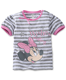 Disney by Babyhug Striped With Minnie Mouse Print Top - Grey & Off White