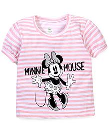 Disney by Babyhug Half Sleeves Top Minnie Mouse Print - Pink