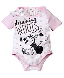 Disney by Babyhug Dot With Minnie Mouse Print Onesies- Pink & White