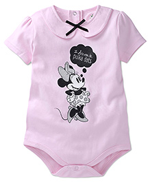Disney by Babyhug Peter Pan Collar Minnie Mouse Print Onesies - Pink