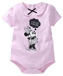 Disney by Babyhug Peter Pan Collar Minnie Mouse Print Onesies - Pink