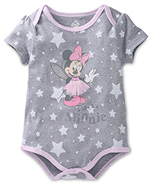 Disney by Babyhug Little Minnie Printed Onesies - Grey