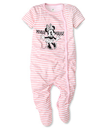 Disney by Babyhug Half Sleeves Minnie Mouse Print On Striped Rompers - White & Pink