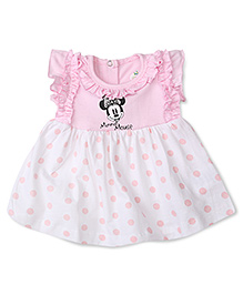 Disney by Babyhug Cap Sleeves Mickey & Dotted Print Frock - Pink & White