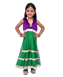 Kilkari Sleeveless Kurti Churidar With Dupatta - Green Purple