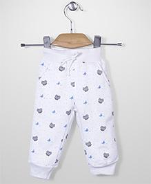 Babyhug Full Length Track Pant Allover Butterfly Print - White
