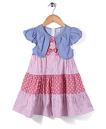 Fairy Short Sleeves Frock Dots and Stripes Print - Pink and White