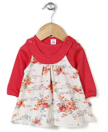 ToffyHouse Floral Printed Frock With Inner Tee - Cream & Red