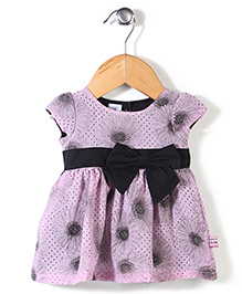 ToffyHouse Cap Sleeves Printed Frock Bow Applique - Purple