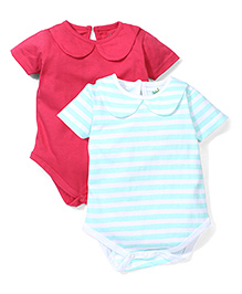 Babyhug Peter Pan Collar Solid & Striped Pack Of 2 Onesies - Turquoise & Crimson