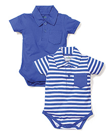 Babyhug Collar Neck Solid & Striped Pack Of 2 Onesies - Royal Blue