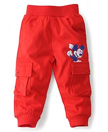 Disney by Babyhug Track Pants Mickey Print - Red