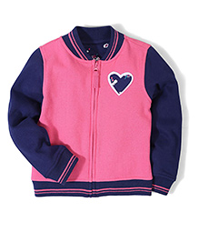 Mothercare Full Sleeves Sweat Jacket - Pink And Navy