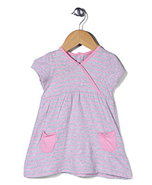 Mothercare Short Sleeves Stripe Frock - Grey Pink