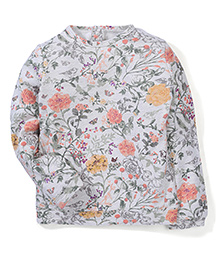 Mothercare Full Sleeves Top Floral Print - Grey