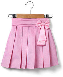 Marsala by Babyhug  Pleated Skirt Bow Applique -  Pink