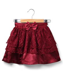 Marsala by Babyhug Lace Skirt Bow Applique - Maroon
