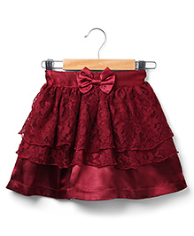 Marsala by Babyhug Lace Skirt Bow Applique - Maroon