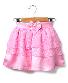Marsala by Babyhug Lace Skirt Bow Applique - Pink