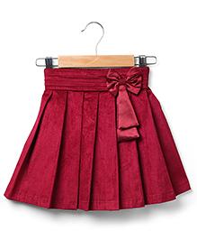 Marsala by Babyhug  Pleated Skirt Bow Applique -  Maroon
