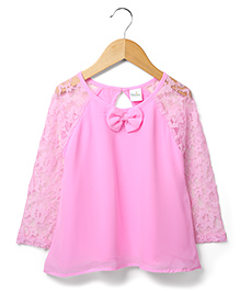 Marsala by Babyhug Full Sleeves Party Top Bow Applique - Pink