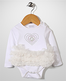 Glow Full Sleeves Onesies With Frill - White