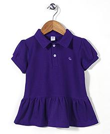 Deeper Half Sleeves A-Line Frock - Purple