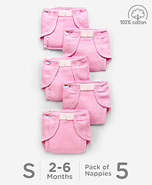Babyhug Muslin Cotton Cloth Nappies With Velcro Small Set Of 5 - Pink