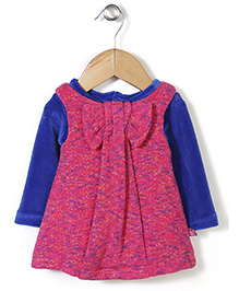 Yellow Duck Frock With Inner Tee Bow Applique - Pink Blue