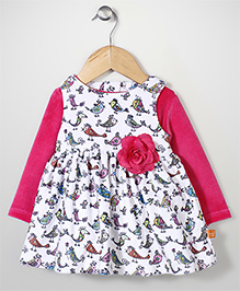 Yellow Duck Frock With Inner Tee Bird Print - Pink White