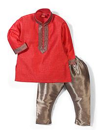 Ethnik's Neu Ron Full Sleeves Kurta And Pajama - Red