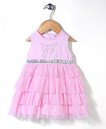 Glow Sleeveless Frill Party Frock - Pink