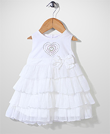 Glow Sleeveless Frill Party Frock - White