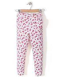 Chic Girls Strawberry Printed Pant - White & Pink