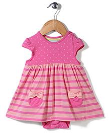 Mothercare Cap Sleeves Printed Onesie Dress - Pink