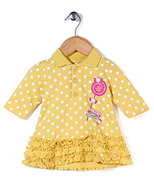 Babyhug Full Sleeves Frock - Yellow