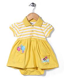 Babyhug Half Sleeves Onesie Frock - Yellow