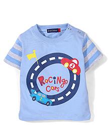 Great Babies Car Racing Print T-Shirt - Sky Blue