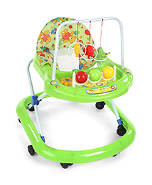 Baby Walker With Hanging Toys And Teddy Bear Print Seat - Green