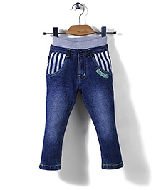 Babyhug Jeans Strip Patched Pockets - Blue
