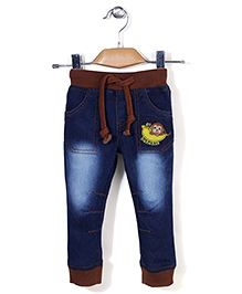 Babyhug Elasticated Waist Full Length Jeans - Dark Blue