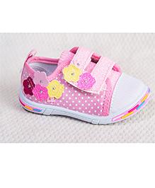 Peach Girl Flower Glitter Shoes - Pink