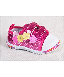Peach Girl Flower & Dot Print Shoes - Purple