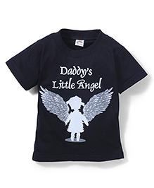Hippo&Son Daddy's Little Angel Print T-Shirt - Black